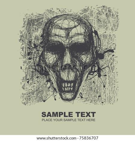 skull and grunge background. vector illustration.