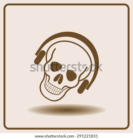 skull and headphones icon