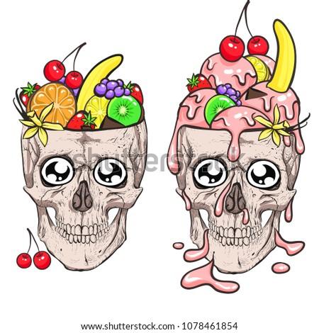 skull and ice cream fruit
