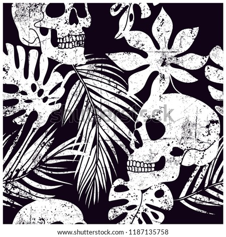 skull and leaves seamless
