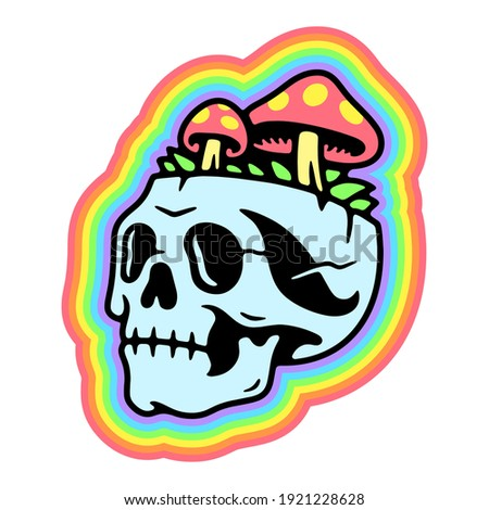 SKULL AND MUSHROOMS RAINBOW TRIPPY BADGE COLOR WHITE BACKGROUND