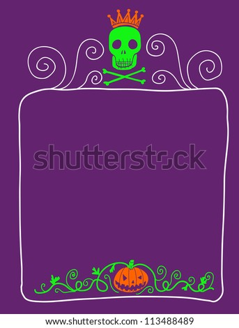 skull and pumpkin scary card