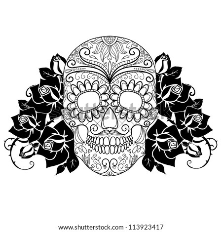 Skull and roses black and white Day of the Dead card