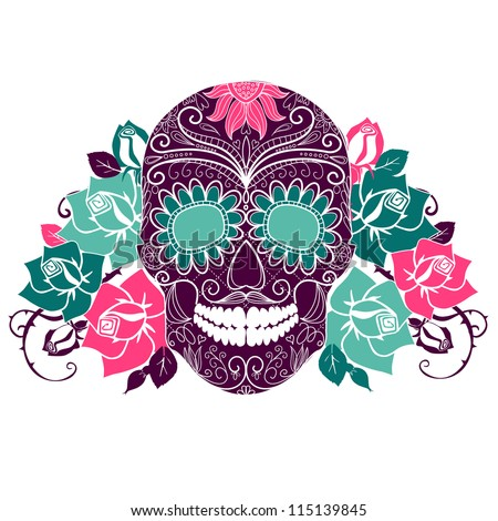 Skull and roses Colorful Day of the Dead card
