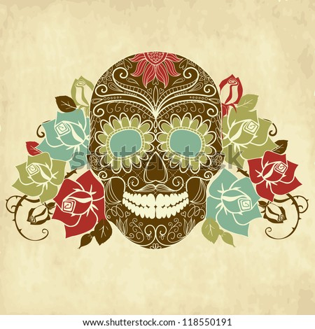 skull and roses  colorful day