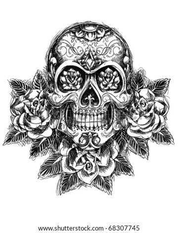 Skull And Roses Sketch Vector 68307745 Shutterstock
