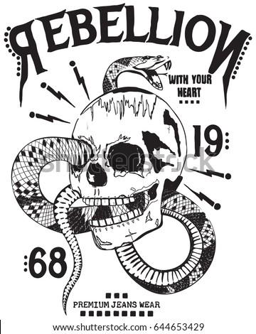 skull and snake print for t