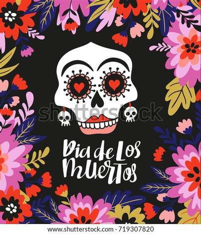skull and text  in the floral