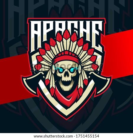 skull apache indian mascot esport logo design