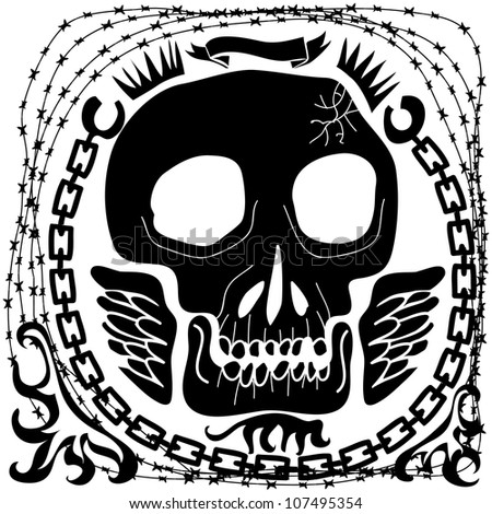 skull banner with chains and wings
