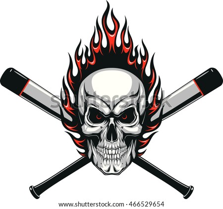 Stock Photo Skull baseball evil