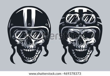 skull biker in helmet and