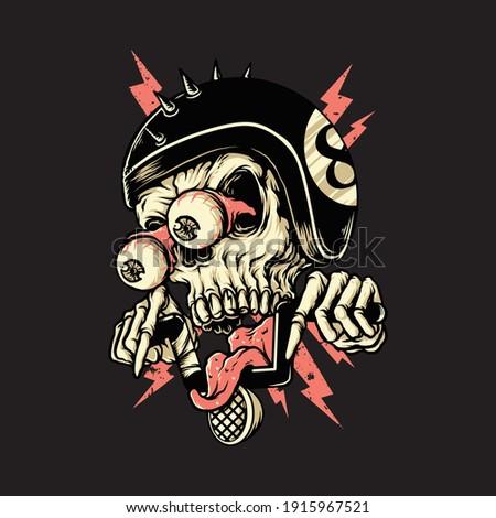 Skull biker rider horror graphic illustration vector art t-shirt design Stock photo ©