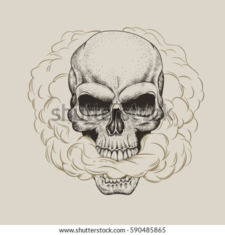 skull breathes the smoke out of