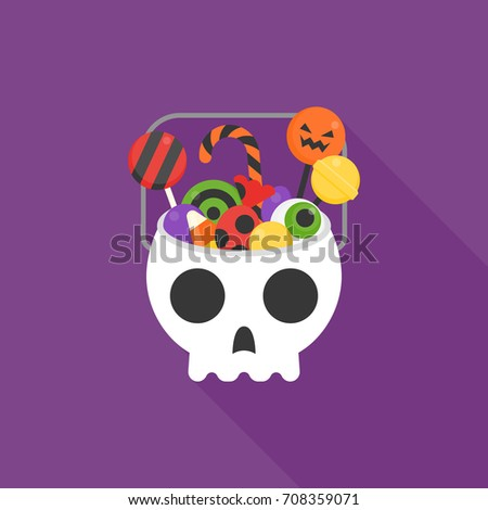 skull bucket filled with sweets