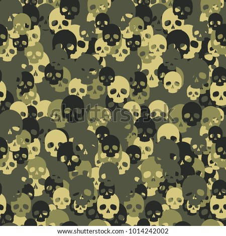 Skull camo seamless pattern. Green camouflage. Vector background for your design.