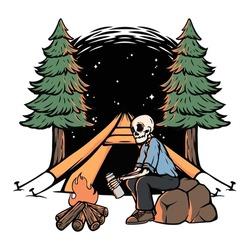 Skull camping at night illustration