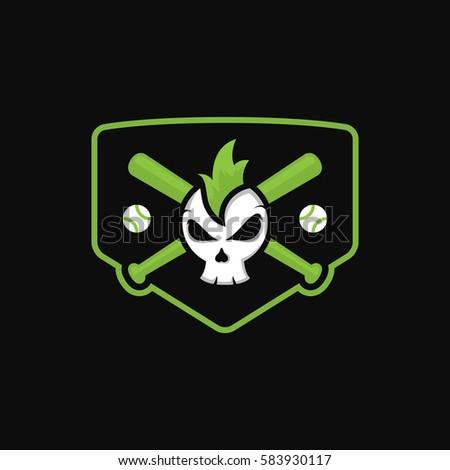 skull character baseball logo