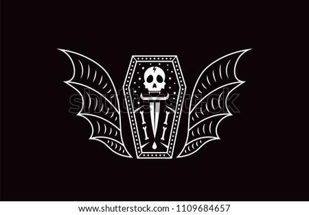 skull coffin vampire logo