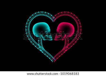 skull couple x ray with heart