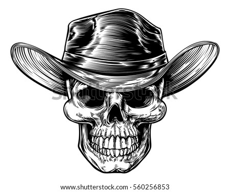 skull cowboy drawing in a