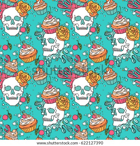 Skull. Cupcake. Seamless vector pattern (background).