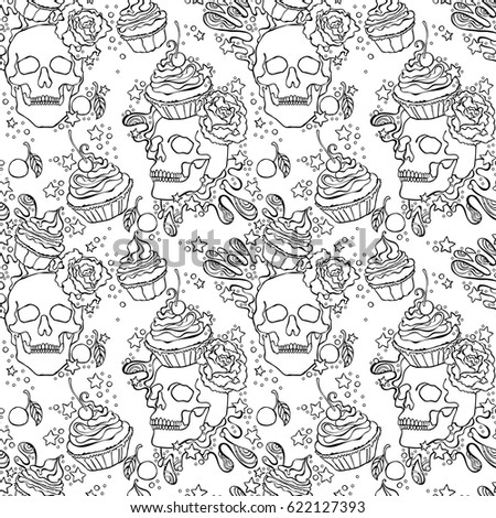 skull cupcake seamless vector