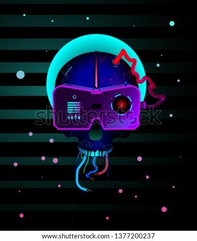 skull cyberpunk style robot