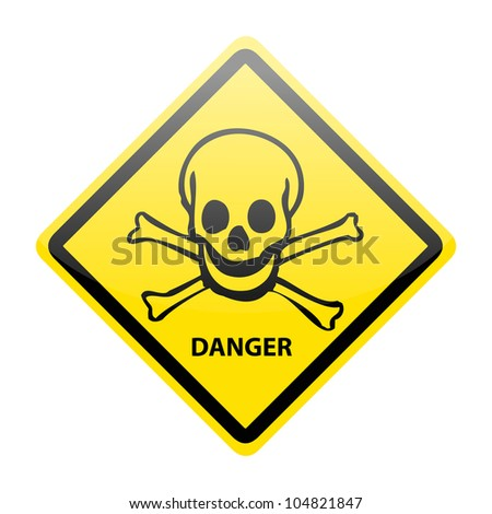 Skull danger sign on white