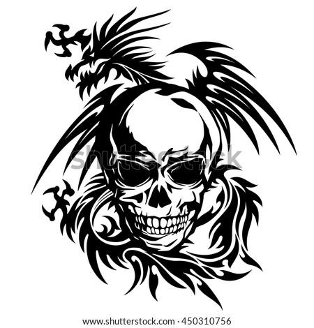 skull dragon illustration