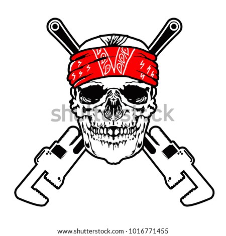 skull face plumber with pipe wrench vector isolated