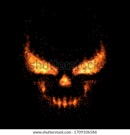 skull fire realistic flame