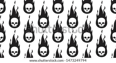 skull fire seamless pattern