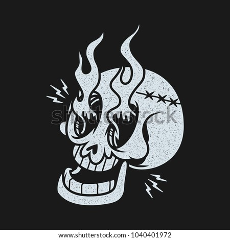 skull fire tattoo stamp shirt