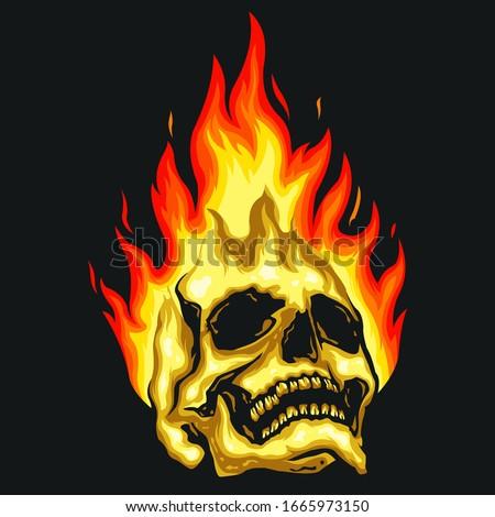 skull fire vector logo design