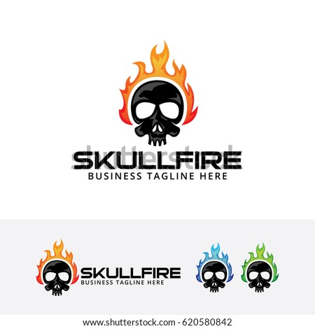 skull fire  vector logo template