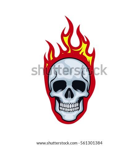 skull flames front face logo