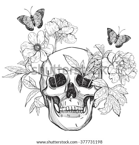 skull  flowers and butterfly