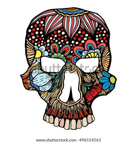 skull flowers decoration