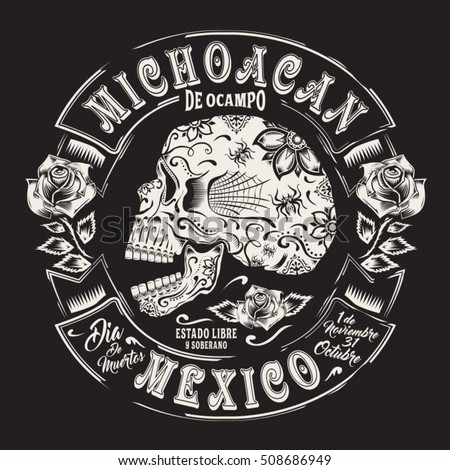 Skull flowers Mexico typography, t-shirt graphics, vectors