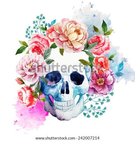 skull  flowers  watercolor