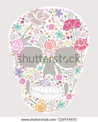 Skull from flowers