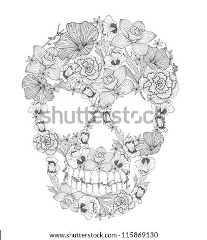 skull from flowers skull