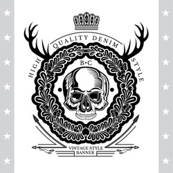 Skull front view without a lower jaw in center of floral wreath with horns and arrows. Heraldic vintage label on white