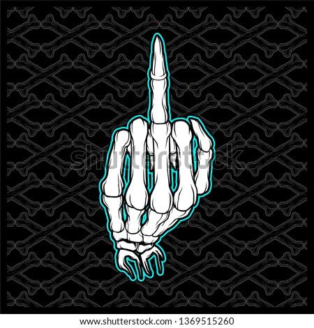 skull Fuck Finger Hand Vector