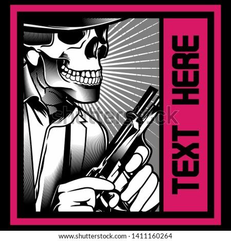 skull gangster with gun. Vector