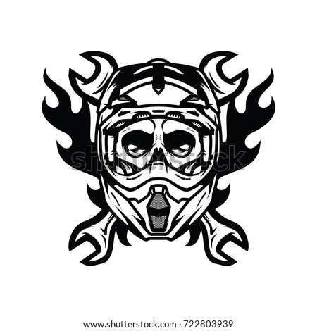 Skull Ghost Rider Road Biker Vector Illustration Mascot Logo Ez Canvas