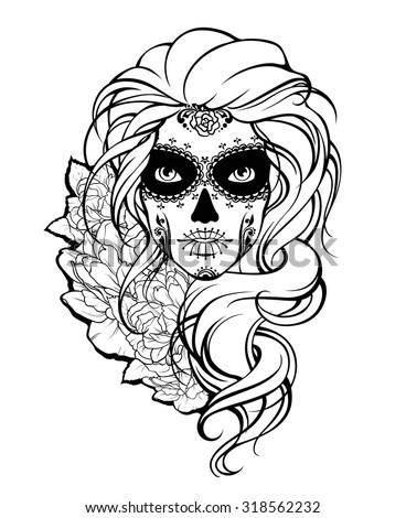 skull girl and flowers black