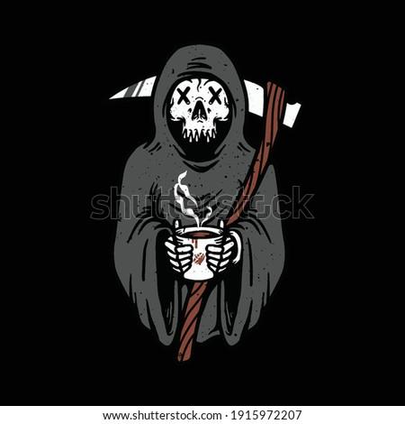 skull grim reaper love coffee