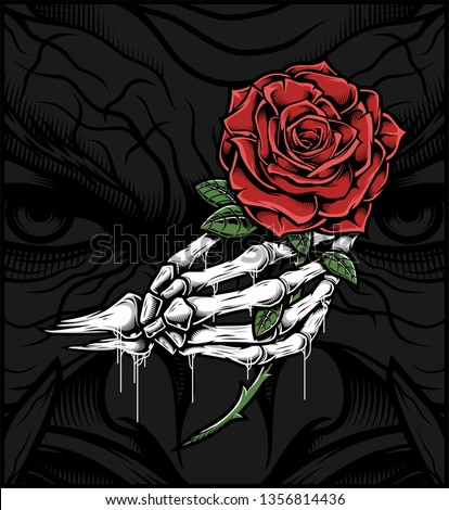 skull hand holding a rose.hand drawing,Shirt designs, biker, gentleman, barber and many others.isolated and easy to edit. Vector Illustration - Vector